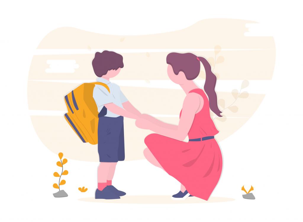 子供の手を握る女性