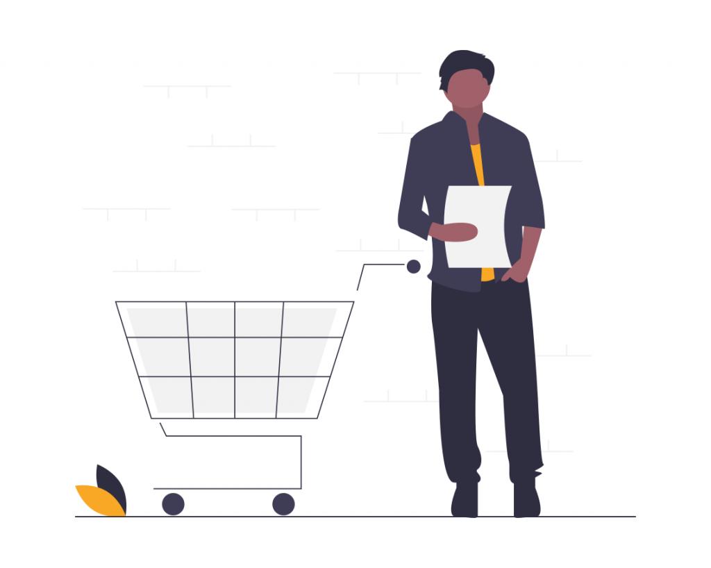ショッピングカートの横に立つ男性